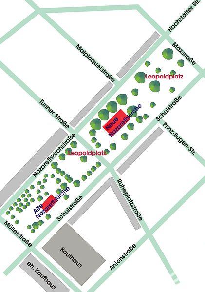 Lageplan des Leopoldplatzes mit angrenzenden Straßen (Quelle: Angela Monika Arnold, www.wikipedia.de)